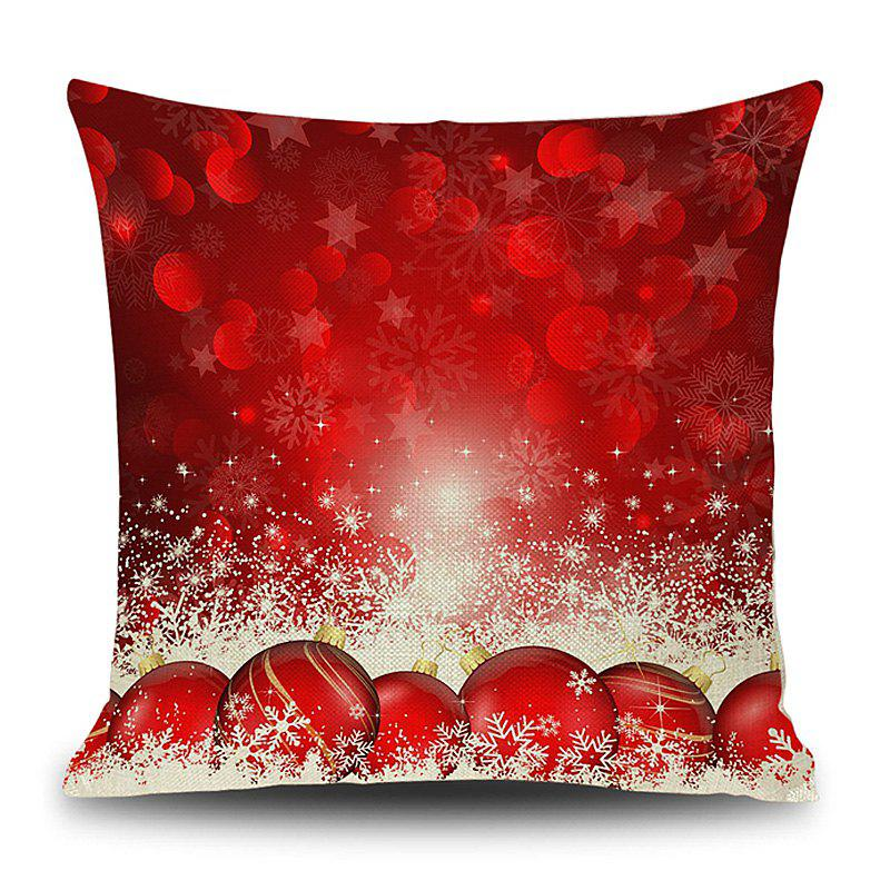 Christmas Baubles Snowflake Print Decorative Linen PillowcaseHOME<br><br>Size: 45*45CM; Color: RED; Material: Linen; Pattern: Baubles,Snowflake; Style: Festival; Shape: Square; Weight: 0.1200kg; Package Contents: 1 x Pillowcase;