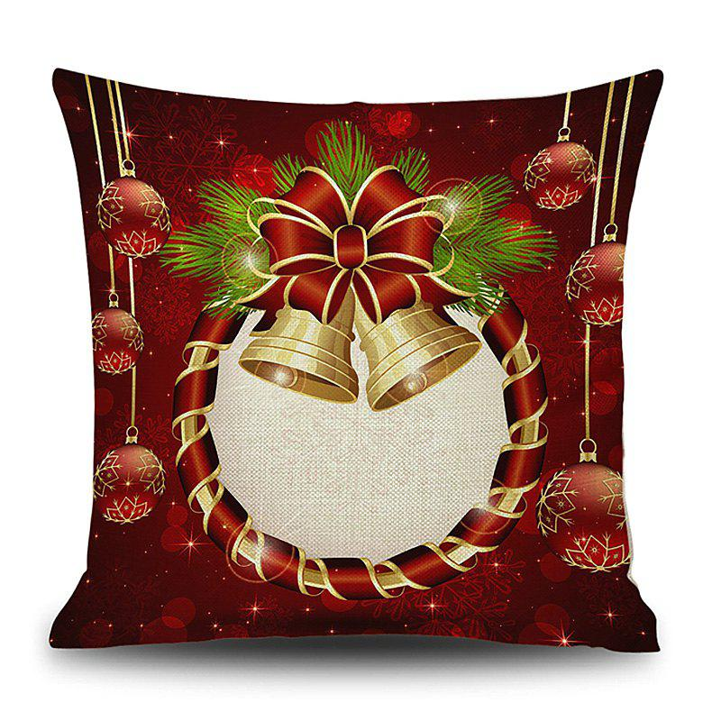 Christmas Bells Wreath Print Decorative Linen PillowcaseHOME<br><br>Size: 45*45CM; Color: DEEP RED; Material: Linen; Pattern: Baubles; Style: Festival; Shape: Square; Weight: 0.1200kg; Package Contents: 1 x Pillowcase;
