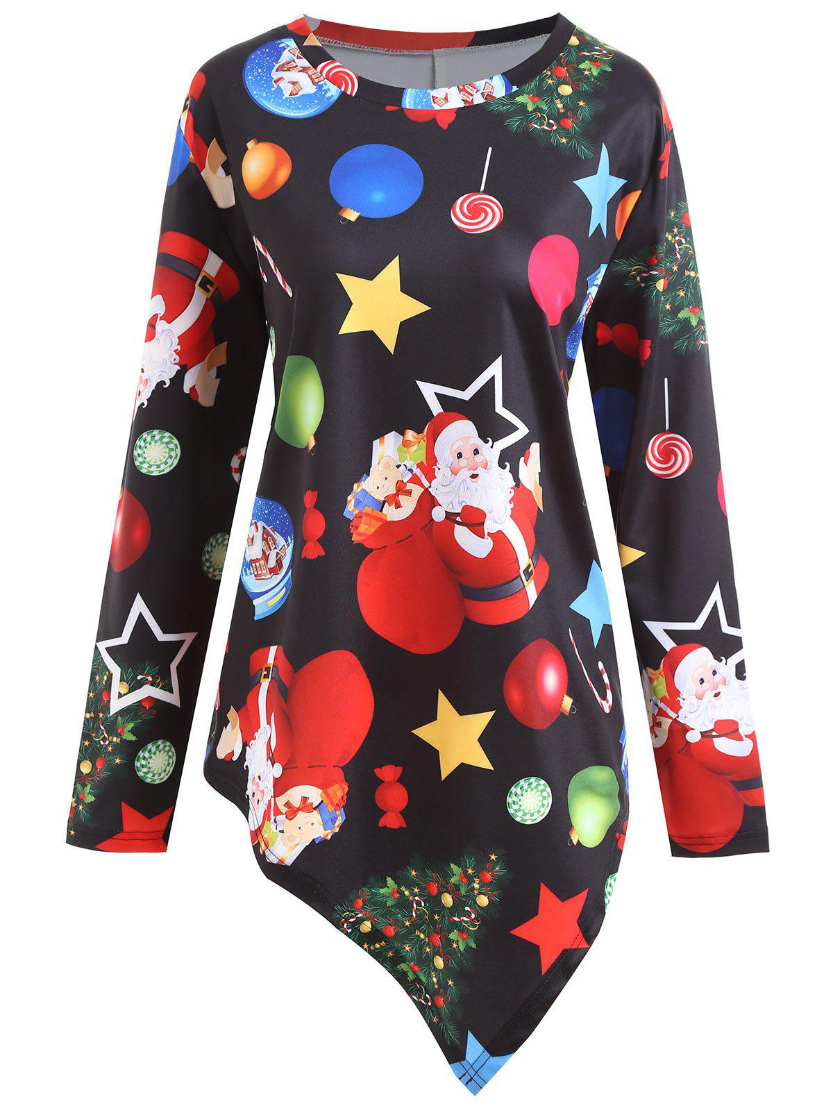 Christmas Santa Claus Star Plus Size Asymmetrical T-shirtWOMEN<br><br>Size: 4XL; Color: BLACK; Material: Polyester,Spandex; Shirt Length: Regular; Sleeve Length: Full; Collar: Round Neck; Style: Casual; Season: Fall,Spring,Winter; Pattern Type: Print; Weight: 0.2900kg; Package Contents: 1 x T-shirt;