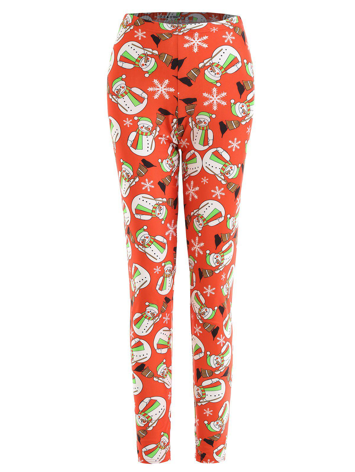 Trendy Plus Size Christmas Snowman Snowflake Print Leggings