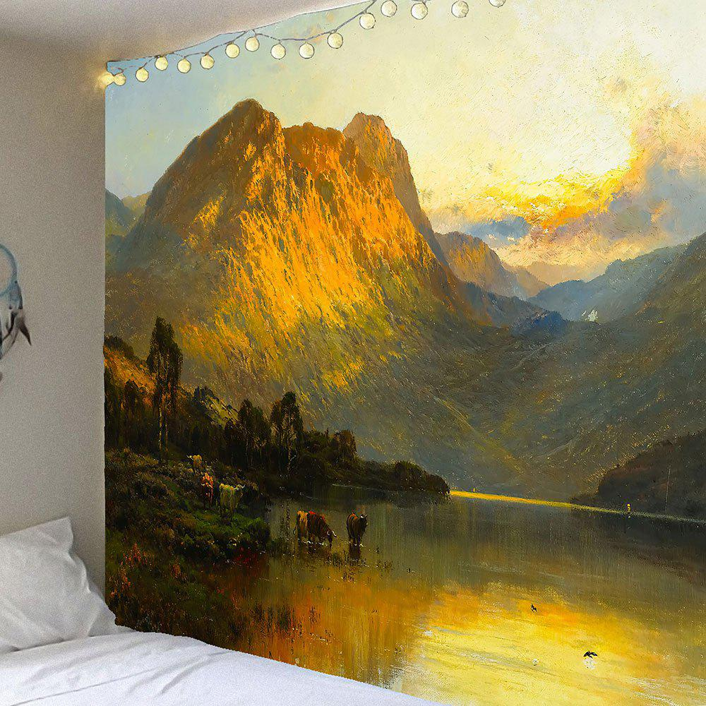 Lakeside Mountains Scenery Printed Wall Art TapestryHOME<br><br>Size: W59 INCH * L59 INCH; Color: GRAY; Style: Natural; Theme: Landscape; Material: Velvet; Feature: Removable,Waterproof; Shape/Pattern: Forest,Mountain; Weight: 0.2500kg; Package Contents: 1 x Tapestry;