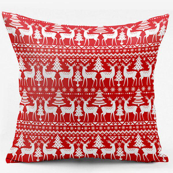 Christmas Deer Double Side Printed Throw PillowcaseHOME<br><br>Size: W17.5 INCH * L17.5 INCH; Color: RED; Material: Polyester / Cotton; Pattern: Animal; Style: Festival; Shape: Square; Weight: 0.1000kg; Package Contents: 1 x Pillowcase;