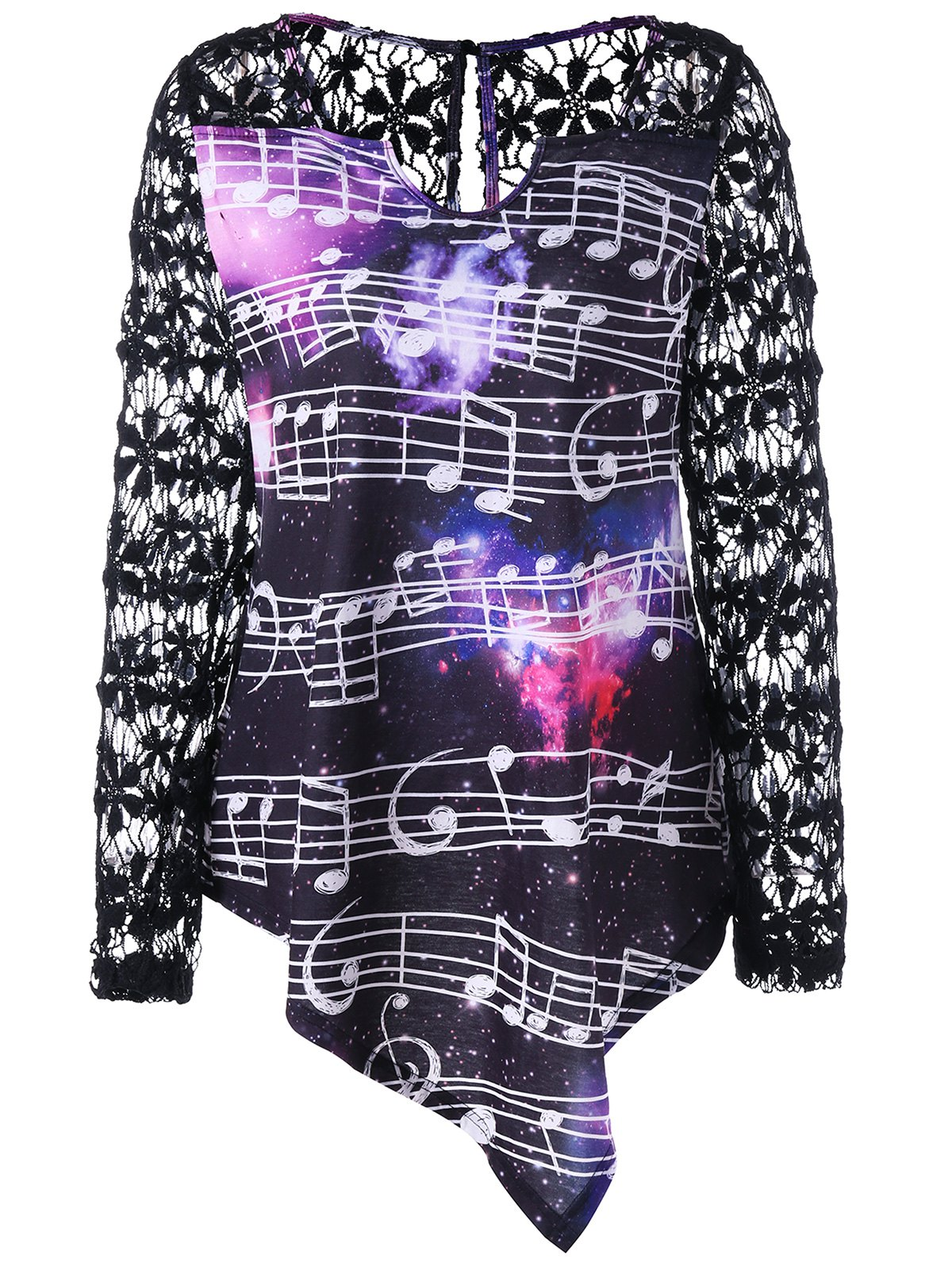 Lace Yoke Galaxy Music Notes TopWOMEN<br><br>Size: L; Color: BLACK; Material: Polyester,Spandex; Shirt Length: Regular; Sleeve Length: Full; Collar: V-Neck; Style: Casual; Embellishment: Lace; Pattern Type: Floral,Galaxy; Season: Fall,Spring; Weight: 0.2500kg; Package Contents: 1 x Top;