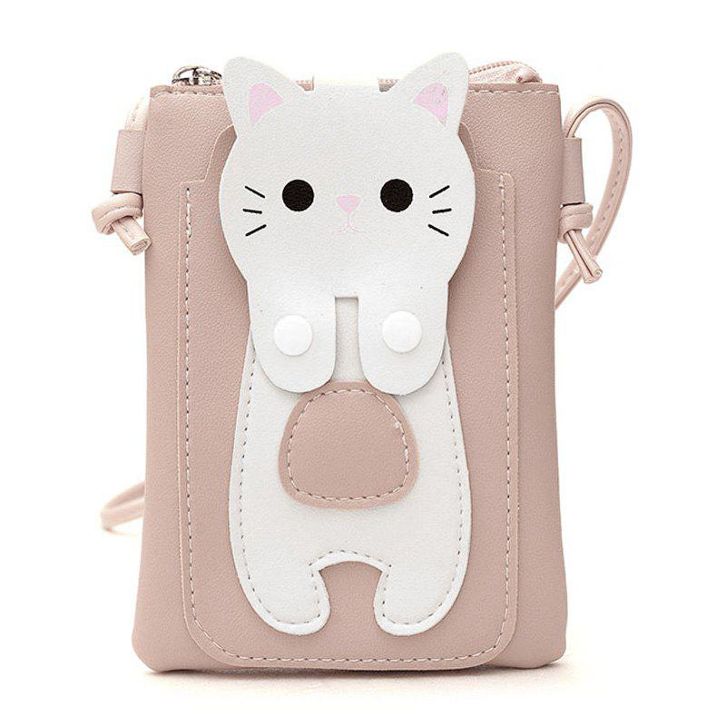 Cartoon Faux Leather Cellphone BagSHOES &amp; BAGS<br><br>Color: PINK; Gender: For Women; Style: Fashion; Closure Type: Zipper; Pattern Type: Character; Main Material: PU; Length: 14CM; Width: 2CM; Height: 18CM; Weight: 0.2000kg; Package Contents: 1 x Cellphone Bag;