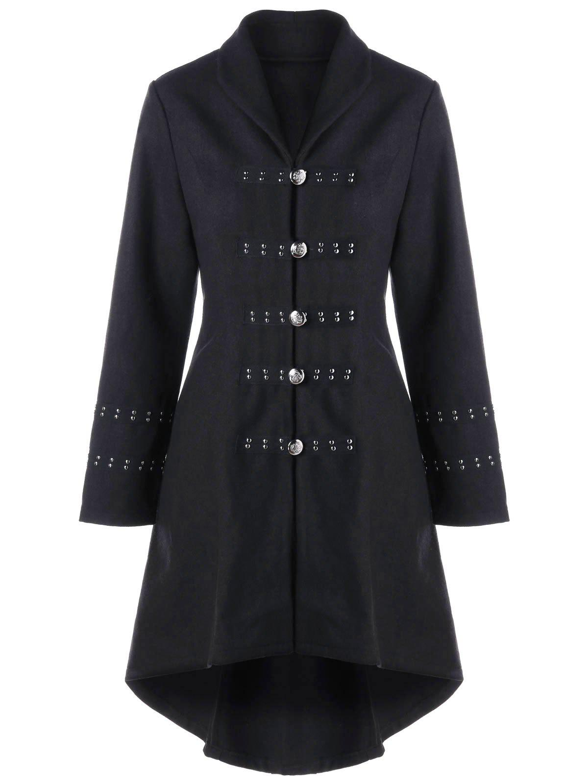 Hot Metal Embellished Lace Up High Low Coat