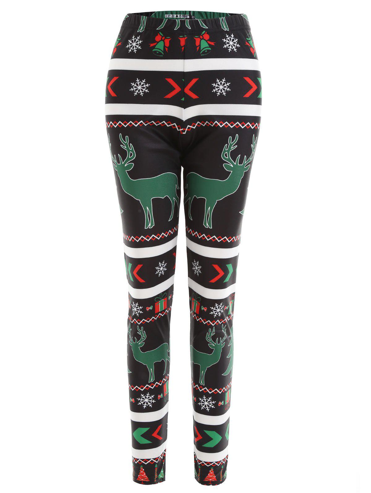 Christmas Elk Snowflake Printed Plus Size LeggingsWOMEN<br><br>Size: 3XL; Color: BLACK; Style: Casual; Length: Normal; Material: Polyester,Spandex; Fit Type: Skinny; Waist Type: Mid; Closure Type: Elastic Waist; Pattern Type: Animal; Pant Style: Pencil Pants; With Belt: No; Weight: 0.2300kg; Package Contents: 1 x Leggings;