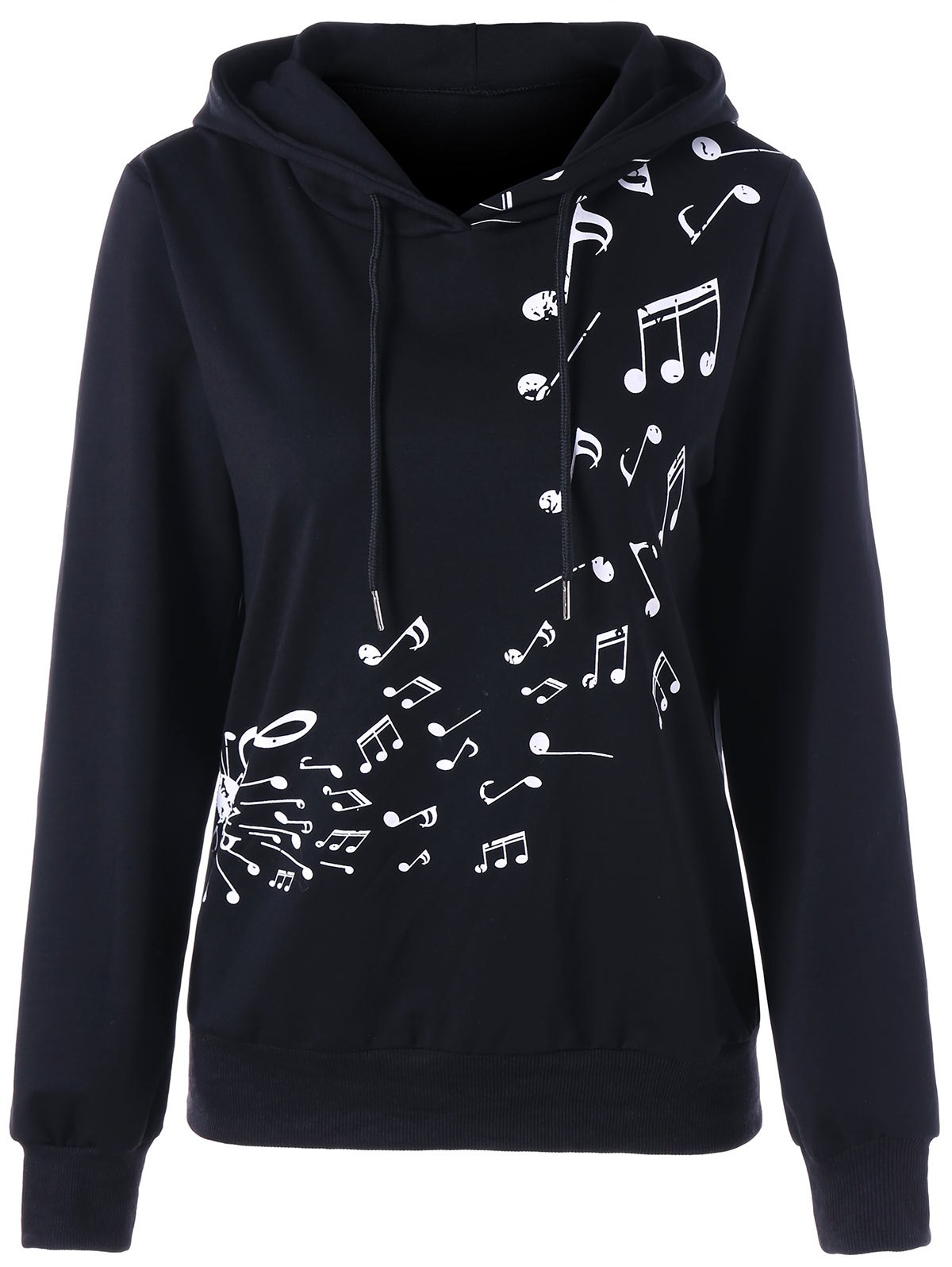 Music Note Two Tone HoodieWOMEN<br><br>Size: 2XL; Color: BLACK; Material: Polyester; Shirt Length: Regular; Sleeve Length: Full; Style: Fashion; Pattern Style: Others; Season: Fall,Spring; Weight: 0.4600kg; Package Contents: 1 x Hoodie;