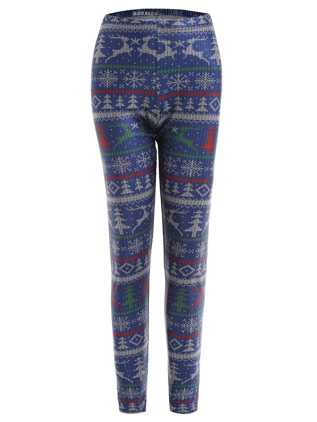 Affordable Plus Size Christmas Digital Elk Snowflake Print Leggings