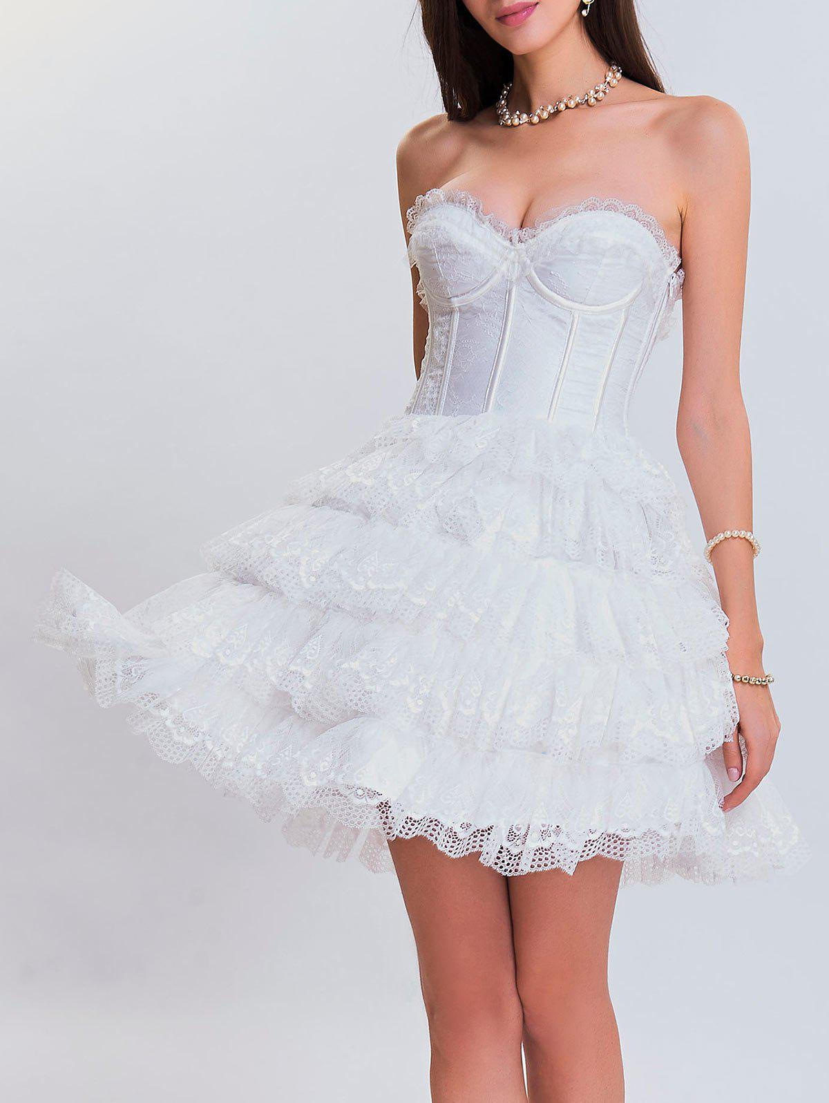 Trendy Club Eyelet Tiered Lace Corset Dress