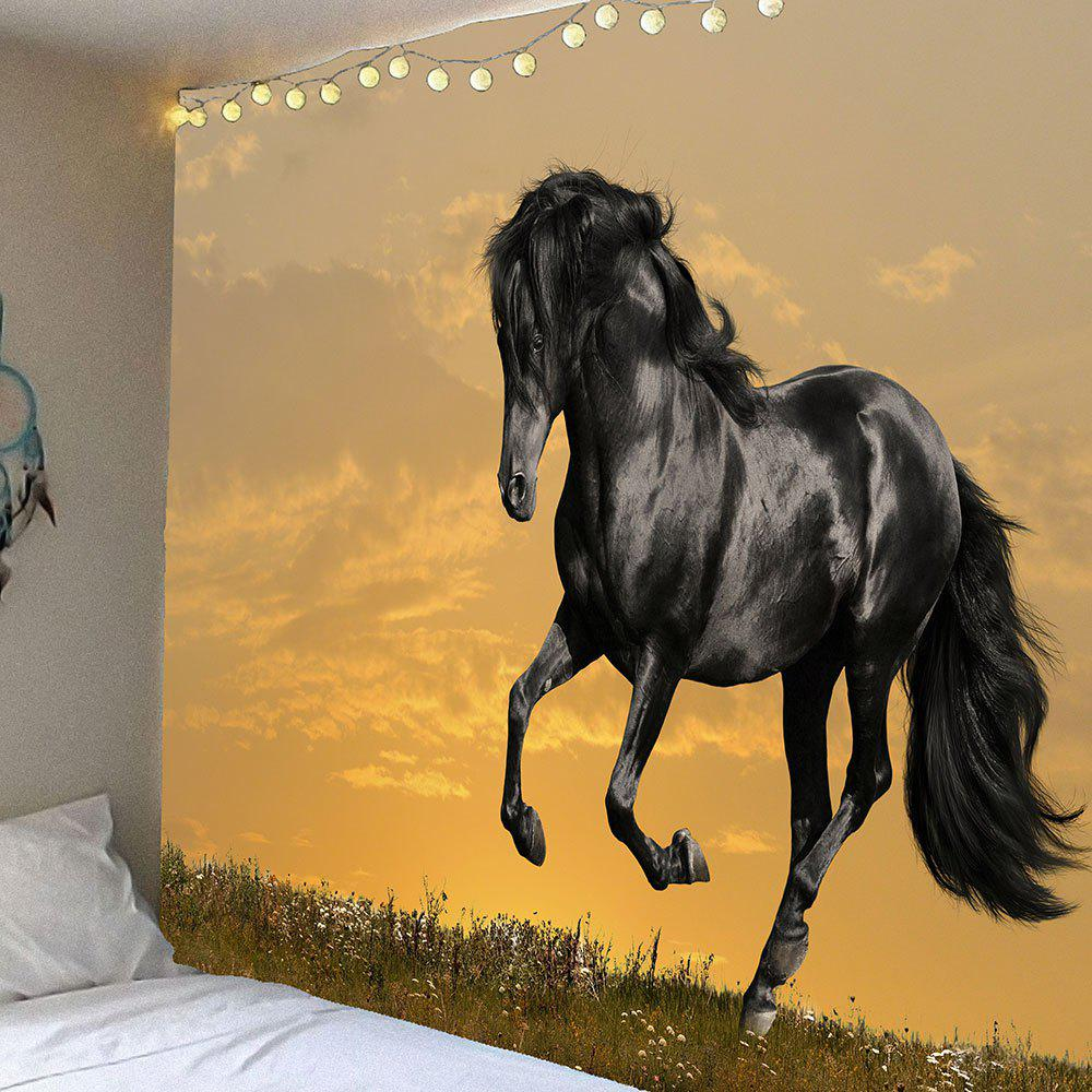 Sunset Horse Pattern Waterproof Wall Art TapestryHOME<br><br>Size: W79 INCH * L71 INCH; Color: BLACK; Style: Casual; Theme: Animals; Material: Velvet; Feature: Removable,Washable,Waterproof; Shape/Pattern: Animal; Weight: 0.3900kg; Package Contents: 1 x Tapestry;