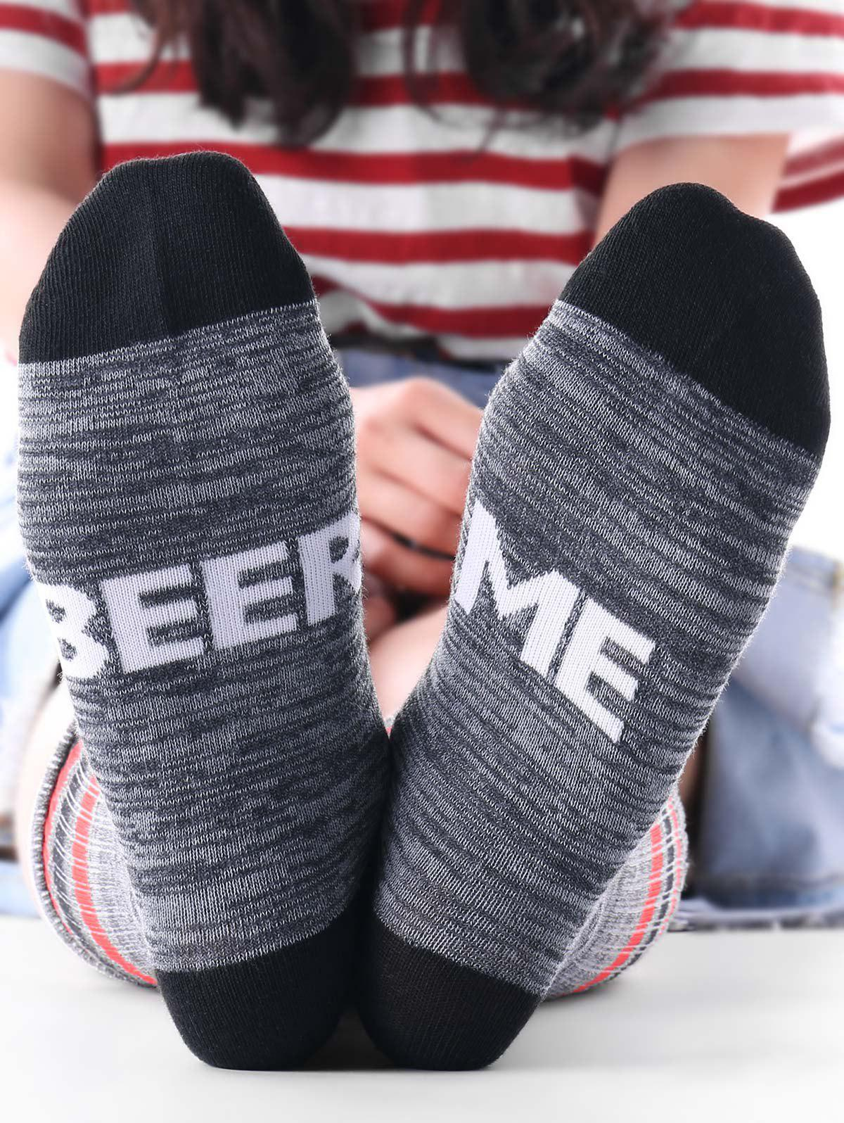 Beer Me Print Ankle SocksACCESSORIES<br><br>Color: GRAY; Type: Socks; Group: Adult; Gender: For Women; Style: Fashion; Pattern Type: Letter; Material: Polyester; Weight: 0.1000kg; Package Contents: 1 x Socks (Pair);