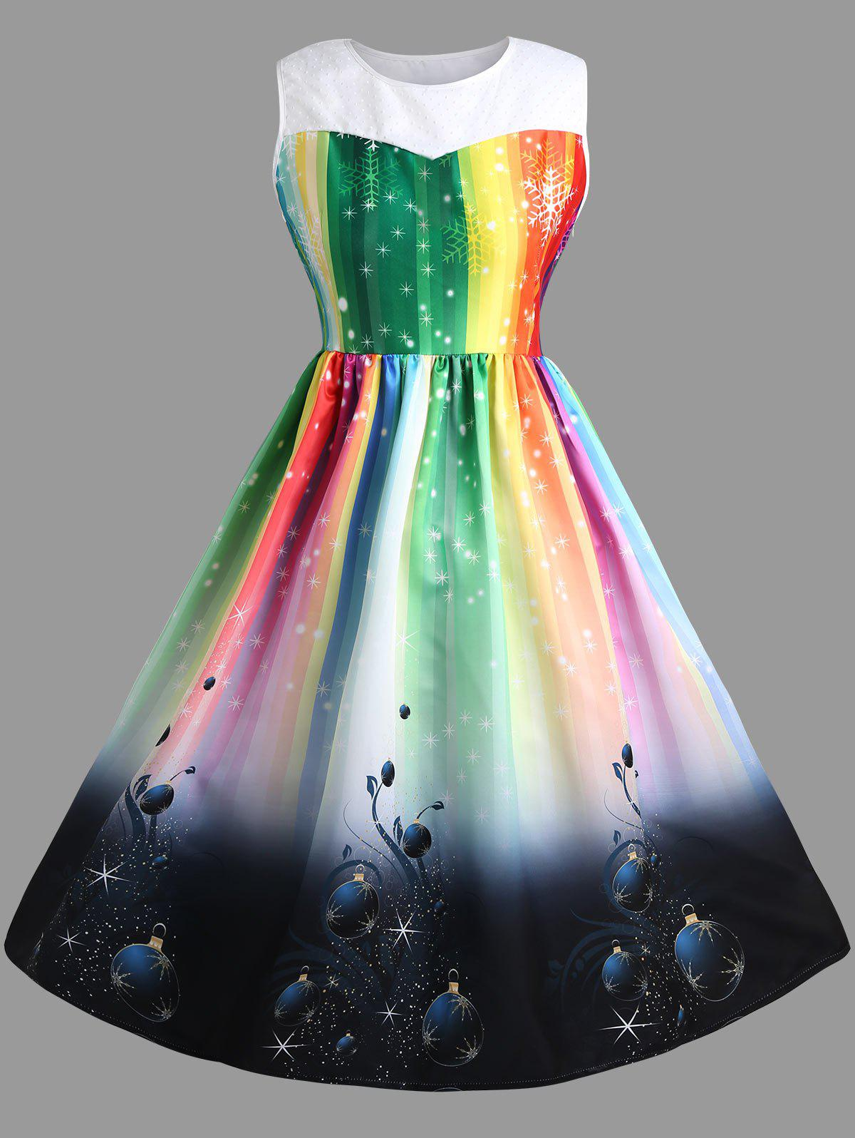 Sleeveless Rainbow  Plus Size Midi Christmas DressWOMEN<br><br>Size: XL; Color: COLORFUL; Style: Vintage; Material: Polyester; Silhouette: Ball Gown; Dresses Length: Mid-Calf; Neckline: Round Collar; Sleeve Length: Sleeveless; Waist: High Waisted; Pattern Type: Print; With Belt: No; Season: Fall,Winter; Weight: 0.5900kg; Package Contents: 1 x Dress;