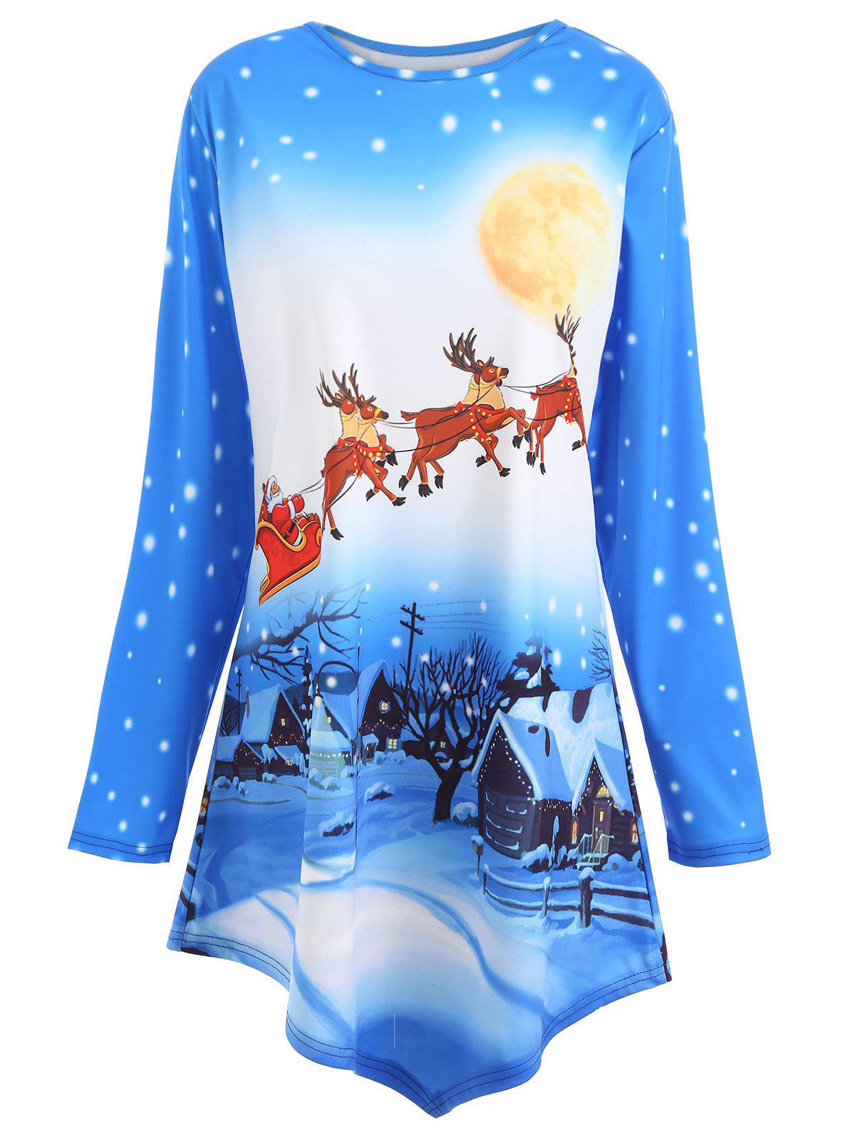 Plus Size Asymmetric Christmas Tunic TopWOMEN<br><br>Size: 4XL; Color: BLUE; Material: Cotton Blends,Polyester; Shirt Length: Long; Sleeve Length: Full; Collar: Scoop Neck; Style: Casual; Season: Fall,Winter; Pattern Type: Animal,Character,Print; Weight: 0.3700kg; Package Contents: 1 x Tee;