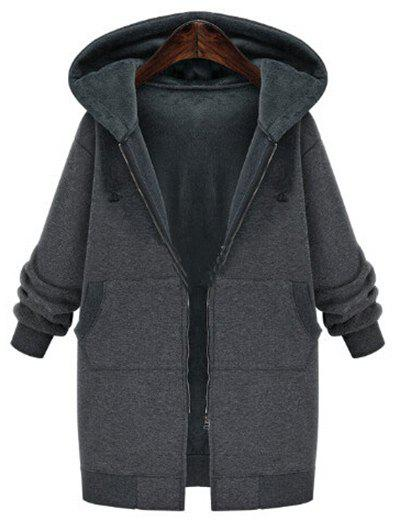 Plus Size Faux Fur Lining Hooded CoatWOMEN<br><br>Size: 4XL; Color: DARK GRAY; Clothes Type: Others; Material: Acrylic; Type: Wide-waisted; Shirt Length: Long; Sleeve Length: Full; Collar: Hooded; Closure Type: Zipper; Pattern Type: Solid; Embellishment: Front Pocket; Style: Casual; Season: Winter; Weight: 0.6200kg; Package Contents: 1 x Coat;
