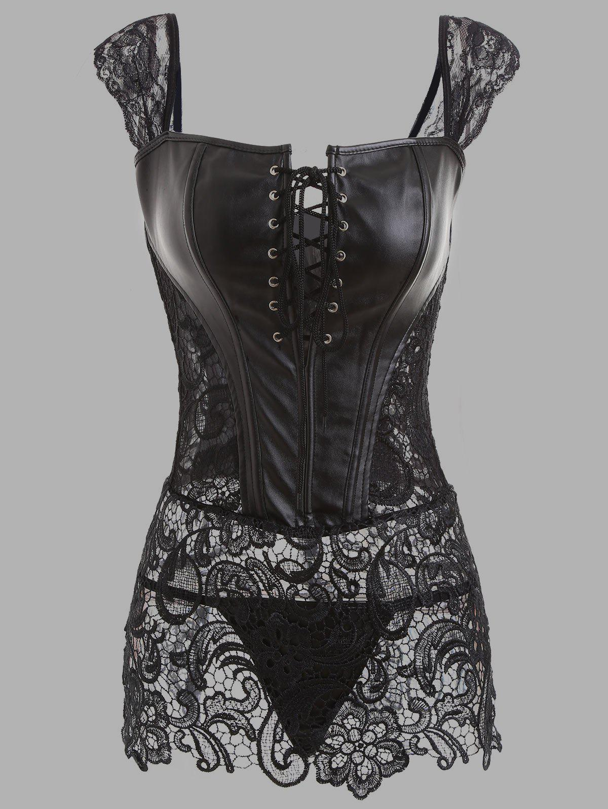 Lace Panel See Through Plus Size Leather CorsetWOMEN<br><br>Size: 4XL; Color: BLACK; Material: Faux Leather; Pattern Type: Solid; Embellishment: Criss-Cross,Hollow Out,Lace,Zippers; Weight: 0.3500kg; Package Contents: 1 x Corset Top 1 x G-string;
