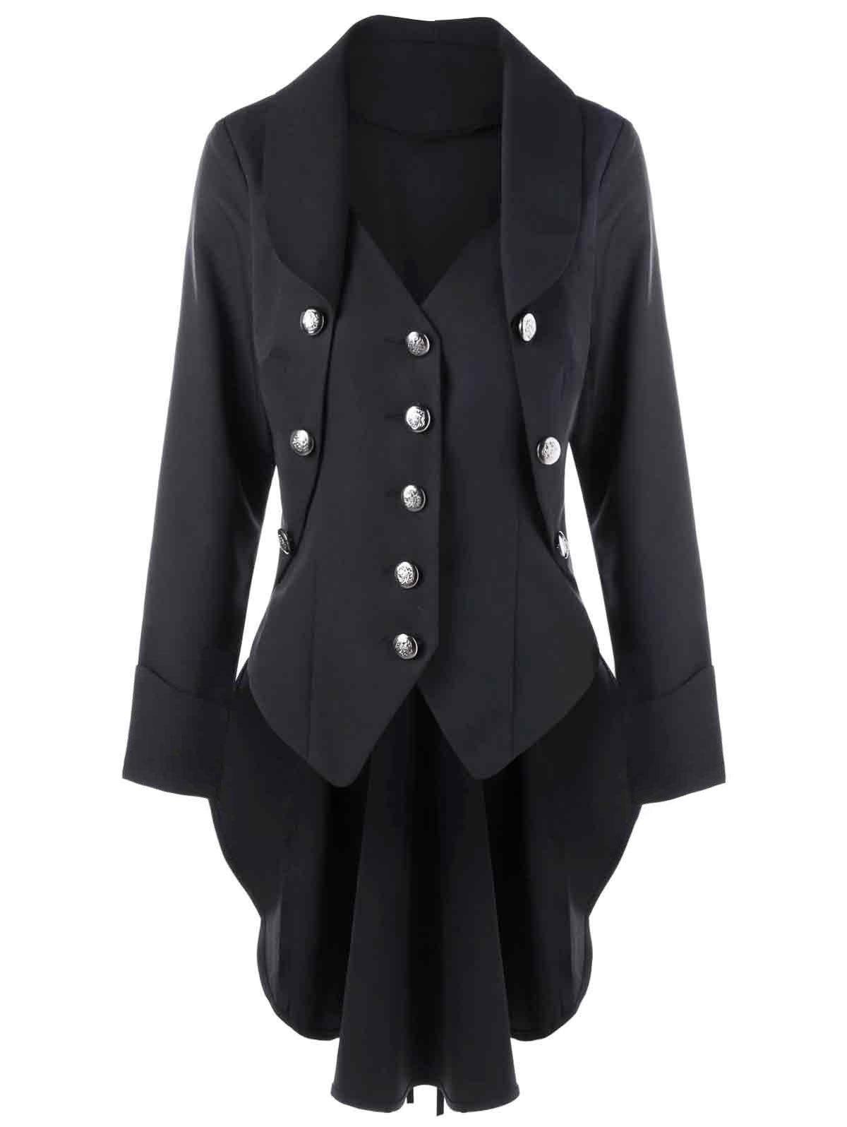 Button Up Slim Vintage TailcoatWOMEN<br><br>Size: L; Color: BLACK; Clothes Type: Trench; Material: Polyester; Type: Slim; Shirt Length: Long; Sleeve Length: Full; Collar: Turn-down Collar; Pattern Type: Solid; Style: Vintage; Season: Fall,Spring; Weight: 0.4500kg; Package Contents: 1 x Tailcoat;