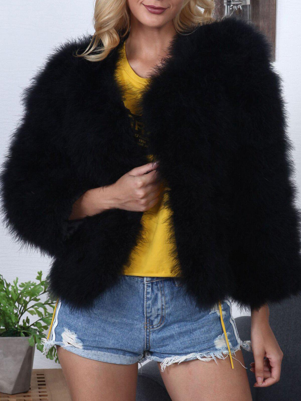 New Fluffy Open Front Faux Fur Coat