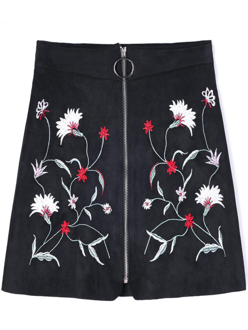Best Zip Up Floral Embroidered A-line Skirt