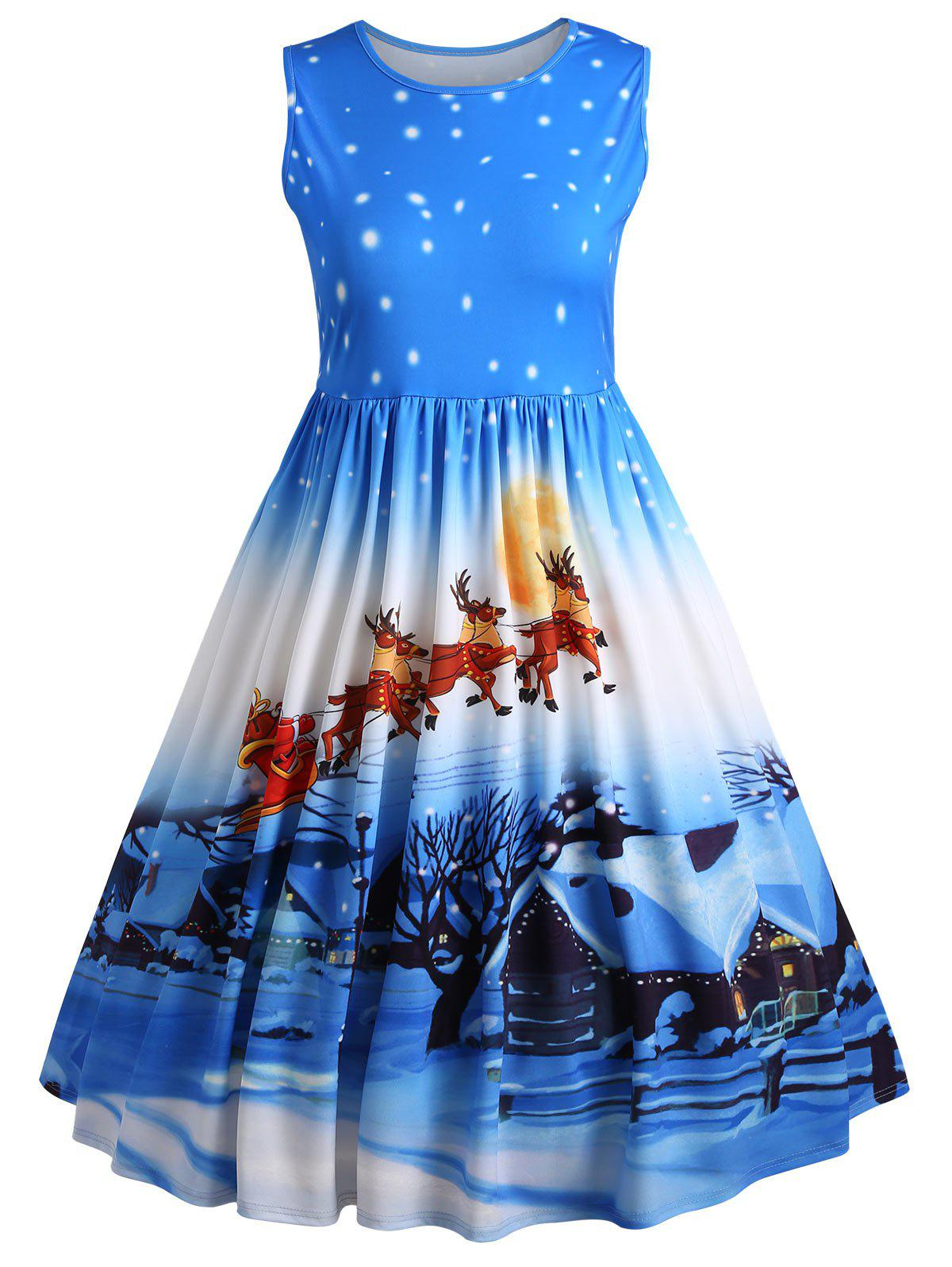 Plus Size Deer Midi Sleeveless Vintage Christmas DressWOMEN<br><br>Size: 3XL; Color: BLUE; Style: Cute; Material: Polyester; Silhouette: Ball Gown; Dresses Length: Mid-Calf; Neckline: Round Collar; Sleeve Length: Sleeveless; Waist: High Waisted; Pattern Type: Animal,Character,Print; With Belt: No; Season: Fall,Winter; Weight: 0.6000kg; Package Contents: 1 x Dress;