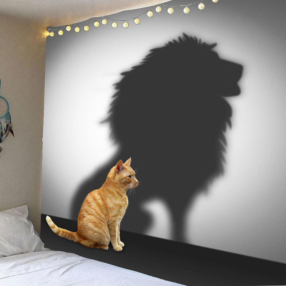 Hanging Cat And Lion Pattern Wall Art TapestryHOME<br><br>Size: W59 INCH * L59 INCH; Color: BROWN AND GREY; Style: Natural; Theme: Animals; Material: Velvet; Feature: Removable,Waterproof; Shape/Pattern: Animal; Weight: 0.2500kg; Package Contents: 1 x Tapestry;