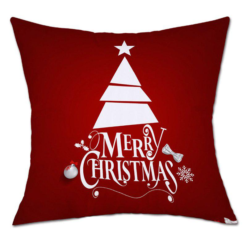 Christmas Letter Tree Print Decorative Linen PillowcaseHOME<br><br>Size: W18 INCH * L18 INCH; Color: RED; Material: Linen; Pattern: Letter,Tree; Style: Festival; Shape: Square; Weight: 0.0900kg; Package Contents: 1 x Pillowcase;