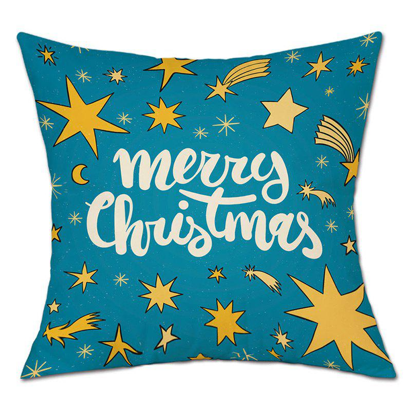 Merry Christmas Star Print Decorative Linen PillowcaseHOME<br><br>Size: W18 INCH * L18 INCH; Color: LAKE BLUE; Material: Linen; Pattern: Letter,Star; Style: Festival; Shape: Round; Weight: 0.0900kg; Package Contents: 1 x Pillowcase;