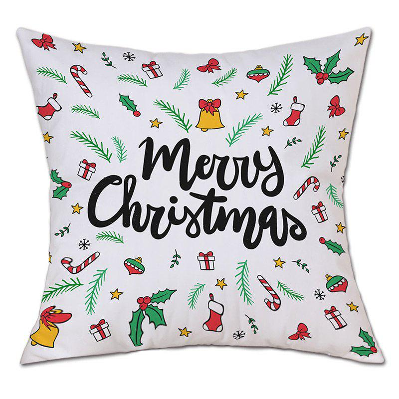 Merry Christmas Theme Print Decorative Linen PillowcaseHOME<br><br>Size: W18 INCH * L18 INCH; Color: COLORMIX; Material: Linen; Pattern: Letter,Plant; Style: Festival; Shape: Square; Weight: 0.0900kg; Package Contents: 1 x Pillowcase;
