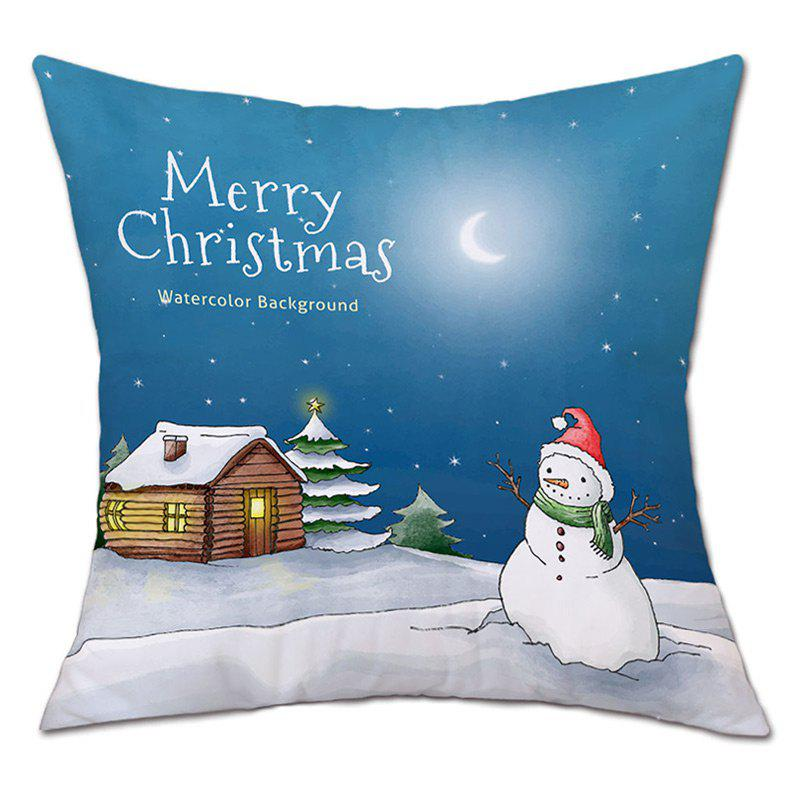 Christmas Night Snowman Print Decorative Linen PillowcaseHOME<br><br>Size: W18 INCH * L18 INCH; Color: BLUE; Material: Linen; Pattern: Letter,Snowman; Style: Festival; Shape: Square; Weight: 0.0900kg; Package Contents: 1 x Pillowcase;