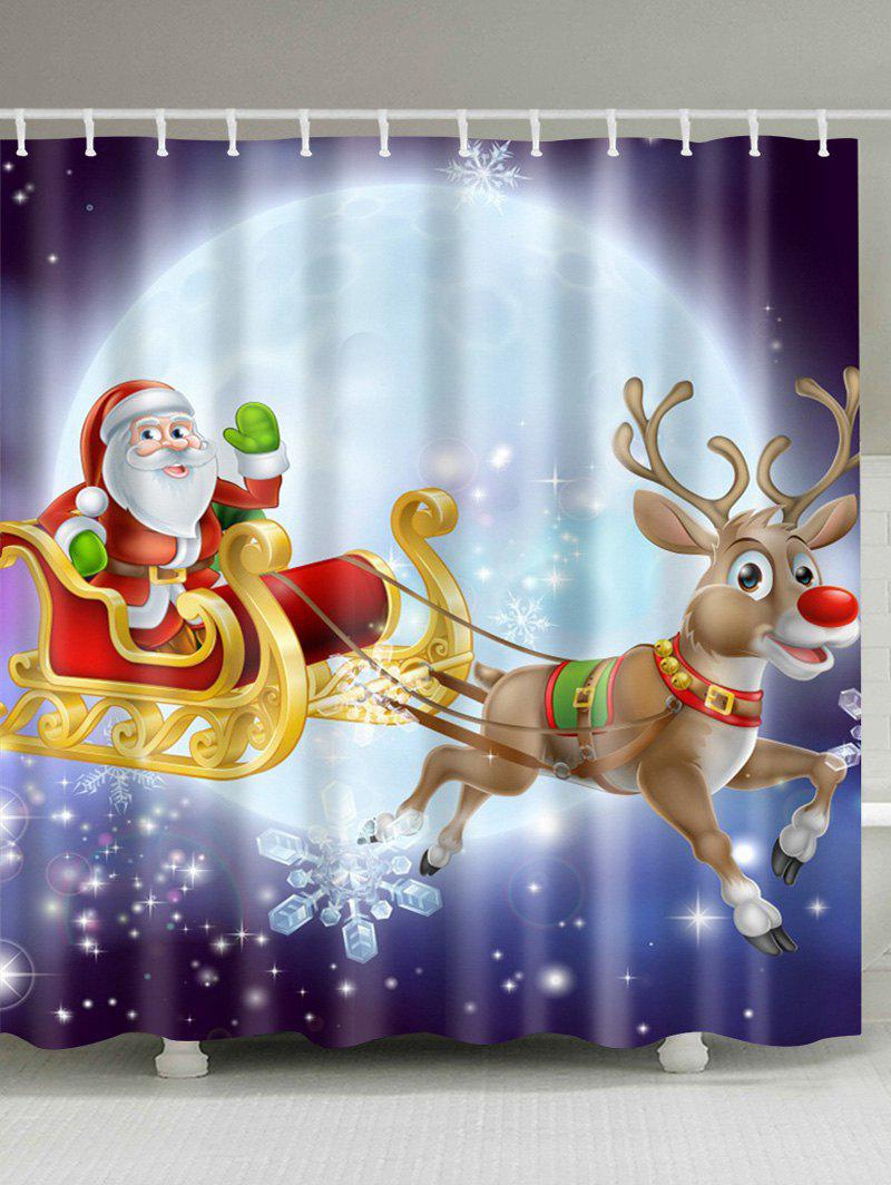 Waterproof Santa Elk Printed Bathroom Christmas Shower CurtainHOME<br><br>Size: XL; Color: PURPLE; Type: Shower Curtains; Material: Polyester; Weight: 0.5400kg; Package Contents: 1 x Shower Curtain;
