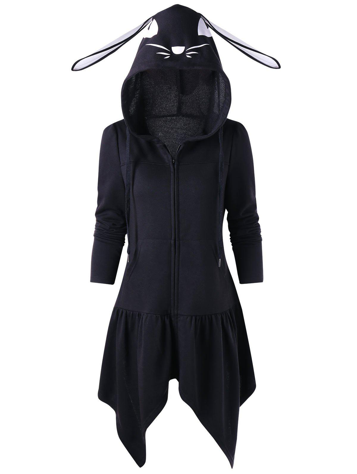 Outfit Cartoon Hooded Lace Up Tunic Coat