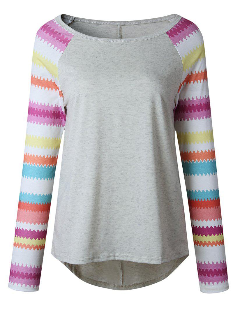 Outfit Raglan Sleeve Wave Stripe T-shirt