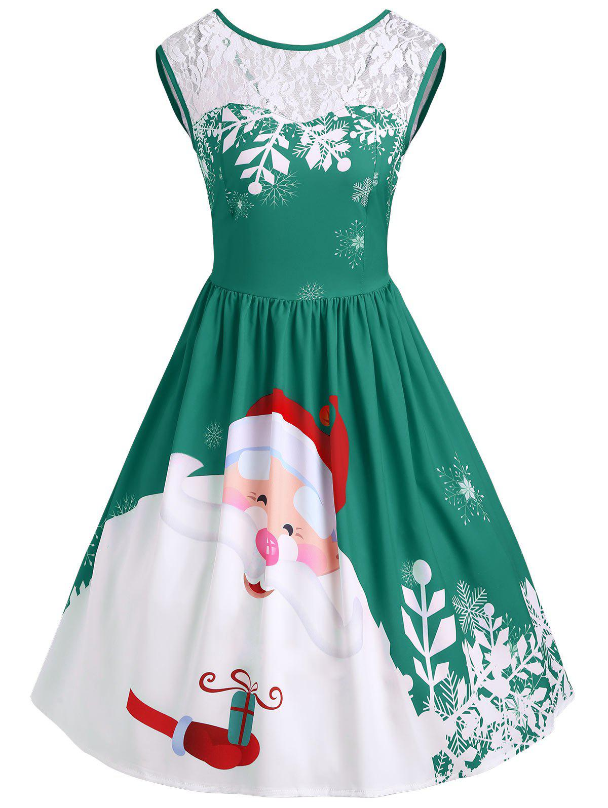 Christmas Santa Claus Print Lace Insert Party DressWOMEN<br><br>Size: M; Color: GREEN; Style: Vintage; Material: Polyester,Spandex; Silhouette: A-Line; Dresses Length: Knee-Length; Neckline: Round Collar; Sleeve Length: Sleeveless; Pattern Type: Patchwork,Print; With Belt: No; Season: Fall,Spring; Weight: 0.3500kg; Package Contents: 1 x Dress;