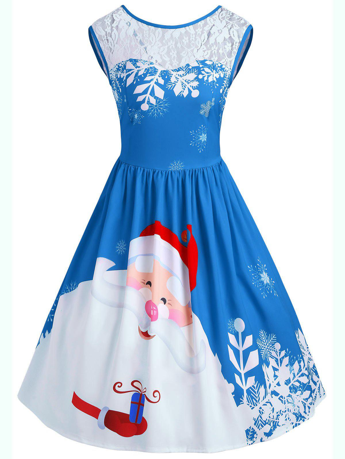 Christmas Santa Claus Print Lace Insert Party DressWOMEN<br><br>Size: L; Color: BLUE; Style: Vintage; Material: Polyester,Spandex; Silhouette: A-Line; Dresses Length: Knee-Length; Neckline: Round Collar; Sleeve Length: Sleeveless; Pattern Type: Patchwork,Print; With Belt: No; Season: Fall,Spring; Weight: 0.3500kg; Package Contents: 1 x Dress;