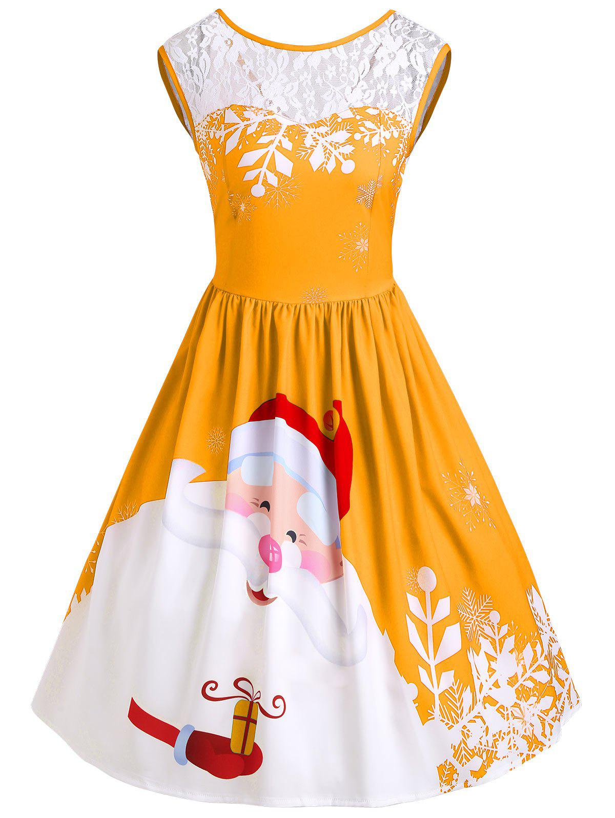 Christmas Santa Claus Print Lace Insert Party DressWOMEN<br><br>Size: 2XL; Color: CITRUS; Style: Vintage; Material: Polyester,Spandex; Silhouette: A-Line; Dresses Length: Knee-Length; Neckline: Round Collar; Sleeve Length: Sleeveless; Pattern Type: Patchwork,Print; With Belt: No; Season: Fall,Spring; Weight: 0.3500kg; Package Contents: 1 x Dress;