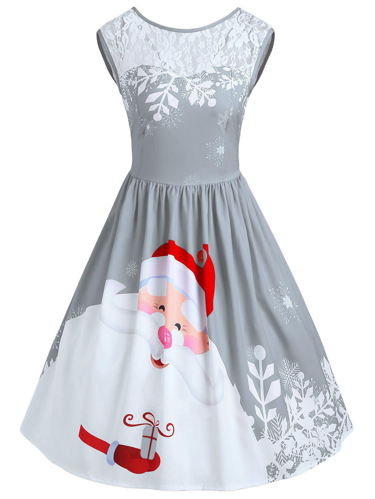 Christmas Santa Claus Print Lace Insert Party DressWOMEN<br><br>Size: 2XL; Color: FROST; Style: Vintage; Material: Polyester,Spandex; Silhouette: A-Line; Dresses Length: Knee-Length; Neckline: Round Collar; Sleeve Length: Sleeveless; Pattern Type: Patchwork,Print; With Belt: No; Season: Fall,Spring; Weight: 0.3500kg; Package Contents: 1 x Dress;
