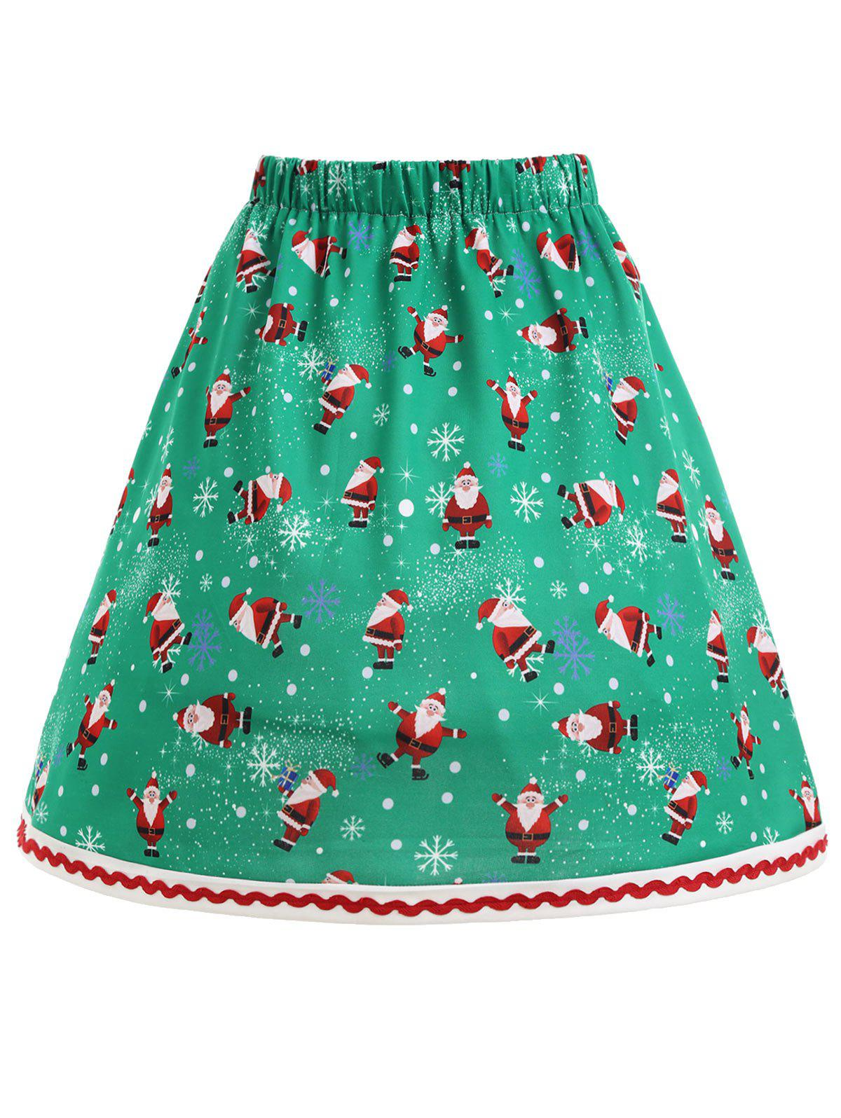 Plus Size Christmas Santa Claus Snowflake SkirtWOMEN<br><br>Size: 3XL; Color: GREEN; Material: Polyester; Length: Knee-Length; Silhouette: A-Line; Pattern Type: Print; Season: Fall,Spring,Winter; With Belt: No; Weight: 0.3300kg; Package Contents: 1 x Skirt;
