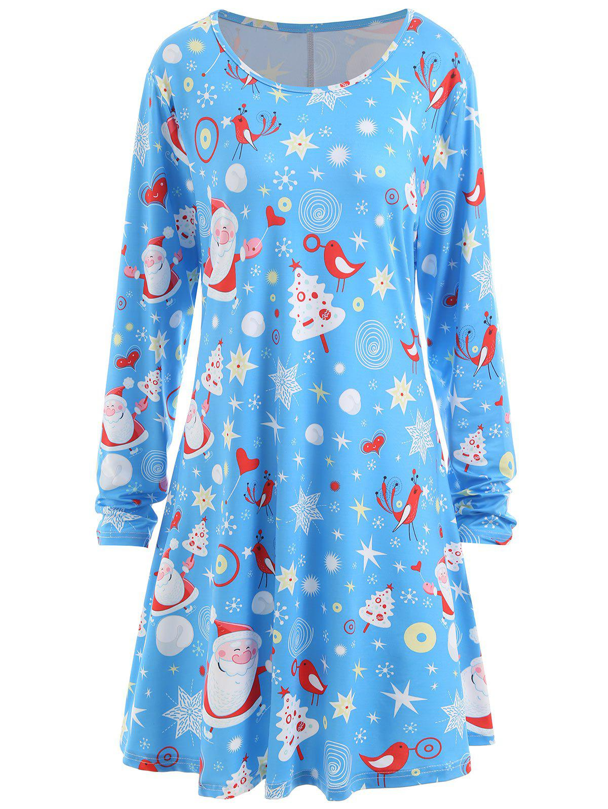 Christmas Santa Claus Star Heart Plus Size Tunic DressWOMEN<br><br>Size: 3XL; Color: AZURE; Style: Casual; Material: Polyester; Silhouette: A-Line; Dresses Length: Knee-Length; Neckline: Round Collar; Sleeve Length: Long Sleeves; Pattern Type: Print; With Belt: No; Season: Fall,Spring,Winter; Weight: 0.3500kg; Package Contents: 1 x Dress;