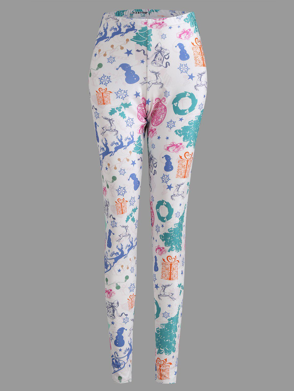 Christmas Tree Sled Snowflake Plus Size LeggingsWOMEN<br><br>Size: 2XL; Color: WHITE; Style: Casual; Length: Normal; Material: Polyester,Spandex; Fit Type: Regular; Waist Type: Mid; Closure Type: Elastic Waist; Pattern Type: Print; Pant Style: Pencil Pants; With Belt: No; Weight: 0.2300kg; Package Contents: 1 x Leggings;