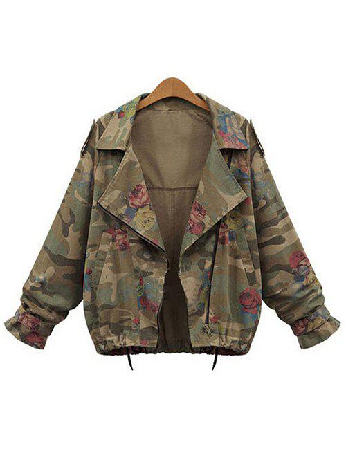 Chic Plus Size Zip Up Camouflage Jacket