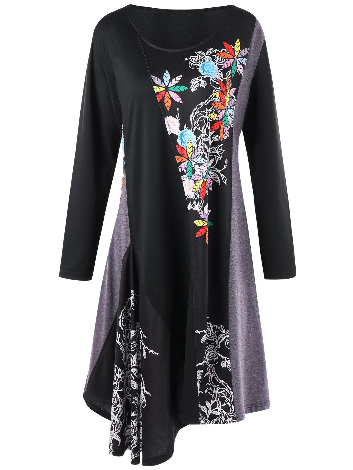 Plus Size Floral Long Sleeve Asymmetric Tee DressWOMEN<br><br>Size: 4XL; Color: BLACK; Style: Casual; Material: Polyester,Spandex; Silhouette: Asymmetrical; Dresses Length: Knee-Length; Neckline: Round Collar; Sleeve Length: Long Sleeves; Pattern Type: Floral; With Belt: No; Season: Fall,Spring; Weight: 0.3800kg; Package Contents: 1 x Dress;