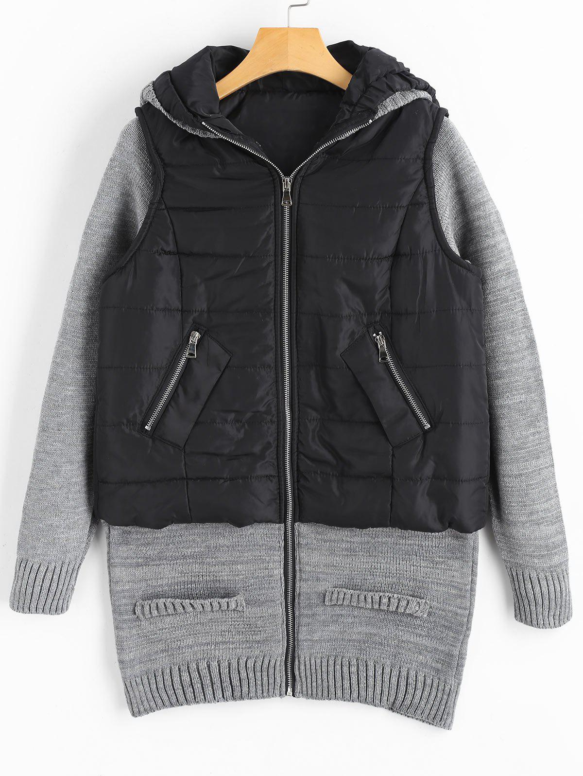 Outfit Knit Panel Padded Longline Hooded Coat