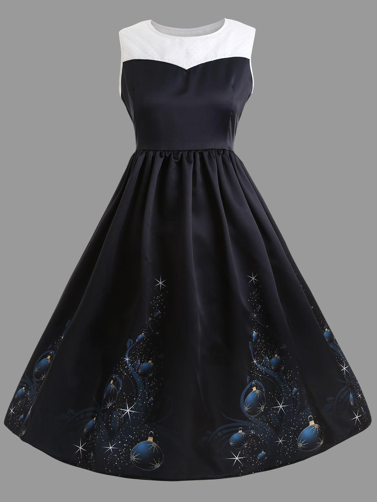 Vintage Plus Size Midi  Christmas Gown DressWOMEN<br><br>Size: 5XL; Color: BLACK; Style: Vintage; Material: Polyester; Silhouette: Ball Gown; Dresses Length: Mid-Calf; Neckline: Round Collar; Sleeve Length: Sleeveless; Waist: High Waisted; Embellishment: Vintage; Pattern Type: Print; With Belt: No; Season: Fall,Winter; Weight: 0.5900kg; Package Contents: 1 x Dress;