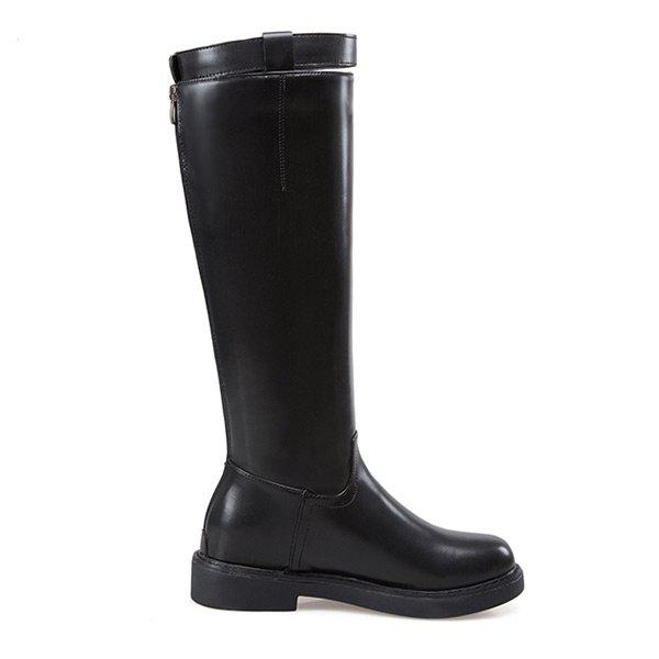 Latest Buckled Back Zip Faux Leather Mid-calf Boots
