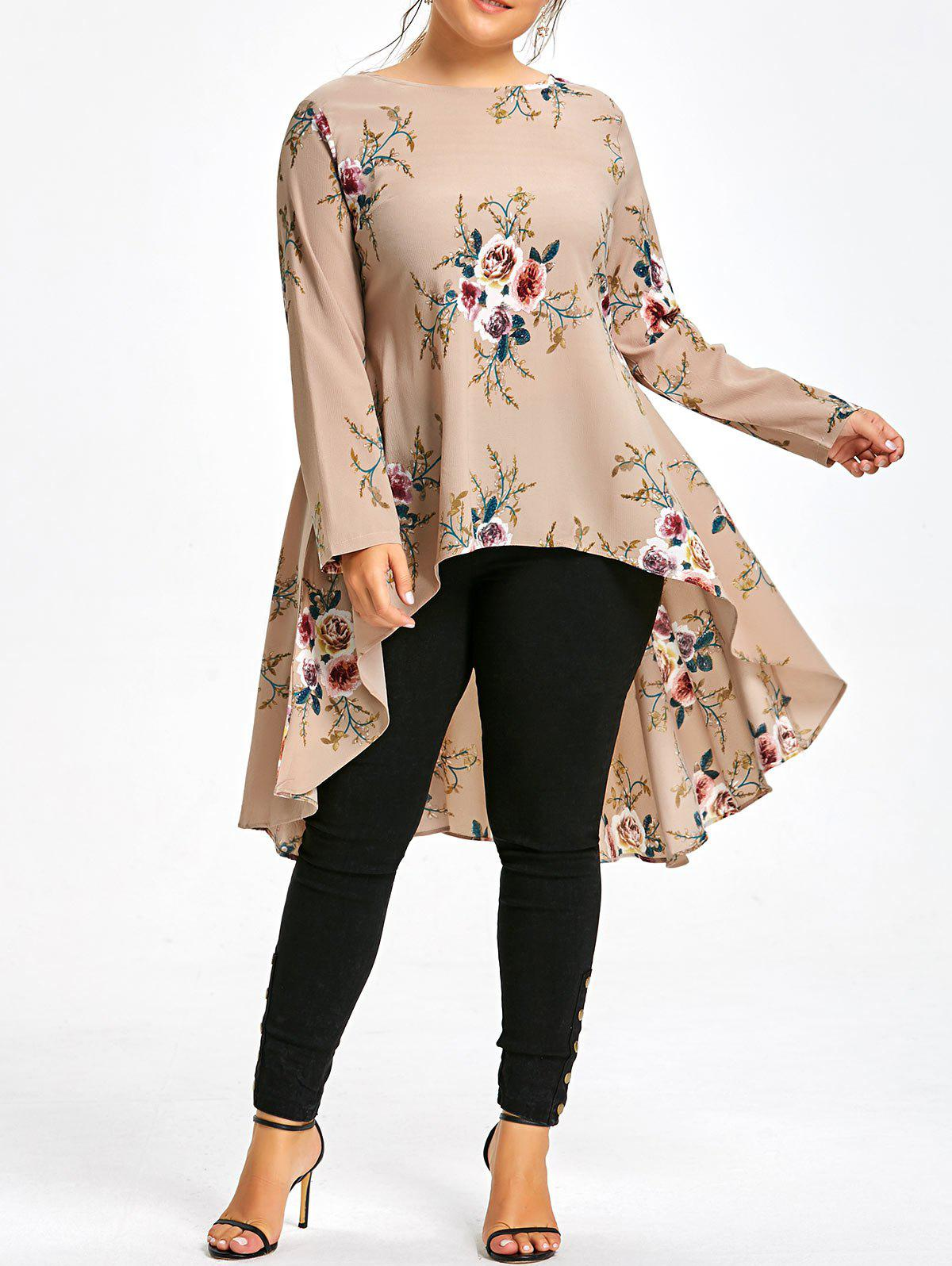 Plus Size Floral Printed Long Chiffon High Low TopWOMEN<br><br>Size: 6XL; Color: APRICOT; Material: Cotton Blends,Polyester; Shirt Length: Long; Sleeve Length: Full; Collar: Round Neck; Style: Fashion; Season: Fall,Spring; Embellishment: Dovetail; Pattern Type: Floral; Weight: 0.3200kg; Package Contents: 1 x Top;