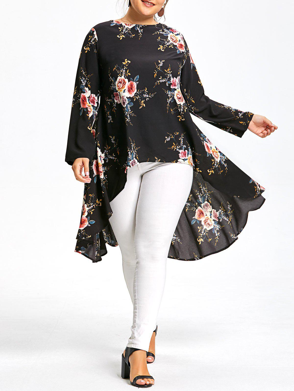 Plus Size Floral Printed Long Chiffon High Low TopWOMEN<br><br>Size: 6XL; Color: BLACK; Material: Cotton Blends,Polyester; Shirt Length: Long; Sleeve Length: Full; Collar: Round Neck; Style: Fashion; Season: Fall,Spring; Embellishment: Dovetail; Pattern Type: Floral; Weight: 0.3200kg; Package Contents: 1 x Top;