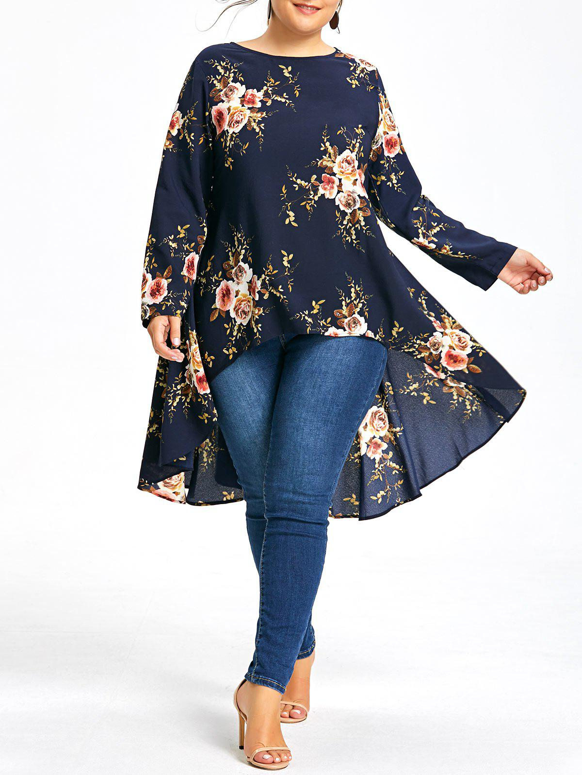 Plus Size Floral Printed Long Chiffon High Low TopWOMEN<br><br>Size: 6XL; Color: PURPLISH BLUE; Material: Cotton Blends,Polyester; Shirt Length: Long; Sleeve Length: Full; Collar: Round Neck; Style: Fashion; Season: Fall,Spring; Embellishment: Dovetail; Pattern Type: Floral; Weight: 0.3200kg; Package Contents: 1 x Top;