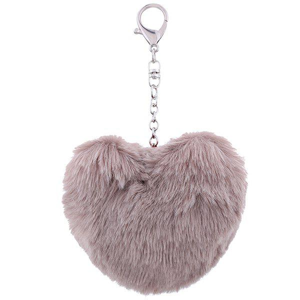 Affordable Fuzzy Heart Ball Pendant Keychain