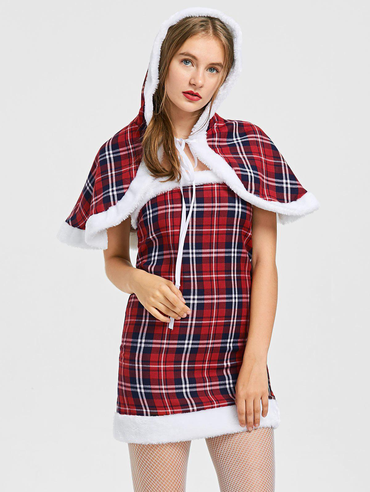 New Plaid Hooded Capelet with Tube Dress