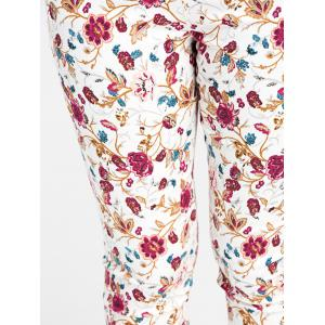 Patch Pockets Allover Floral Tight Pants - COLORMIX XL