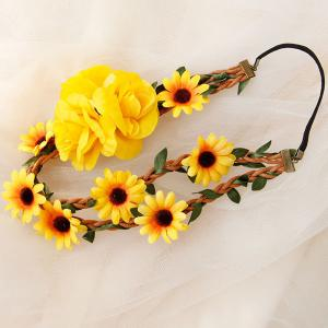 Braid Sunflower Leaf Elastic Hairband -